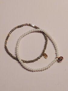 Biba Damen Crystal Perlen Armband  Taupe Weiß  (94)