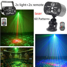 2Pcs Light Projector RGB LED Laser Stage Lighting USB Lamp +Remote Party Disco