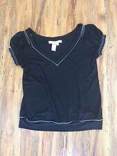 Studio M women's black short sleeve blouse, size L