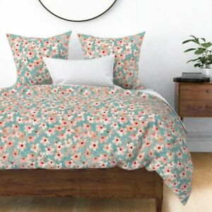 Hibiscus Floral Shabby Chic Painted Nature Sateen Duvet Cover by Roostery