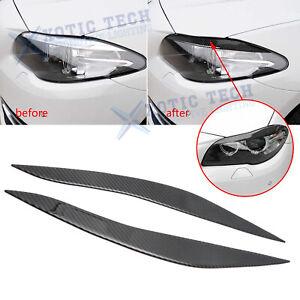 Fits BMW F10 Real Carbon Fiber Headlight Eyebrow Eyelid Trim Molding Decals 2pcs