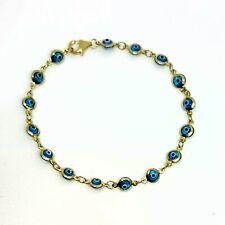 "10k yellow Gold 5mm blue evil eye protection Bracelet gift fine jewelry 7"" 2.1g"