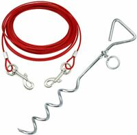 BUNTY METAL STAKE AND DOG TIE OUT CABLE RED 10FT
