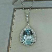 3Ct Pear Cut Aquamarine Necklace Halo Pendant 14K White Gold Finish Free Chain