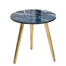Blue Marble LOOK Round Coffee Side Table Lamp Nightstand Chrome Golden Leg