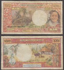 Tahiti 1000 Francs 1969 Papeete (F) Condition Banknote P-27d