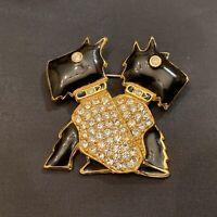 Vintage Trifari TM  Black Enamel Rhinestones Double Scottish Terrier Pin Brooch
