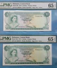 1974 Bahamas $1 PMG65 EPQ *Q/1 Running No 2 Pcs <P-35b> GEM UNC 'Rare Signature'