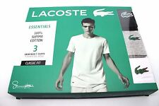 New Mens Lacoste Essentials 3 Pack Crew Neck T-Shirts Cotton Large Classic Fit