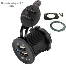 Waterproof Dual USB Charger Socket Power Plug Outlet 3.1 Amp Adapter Dash mount