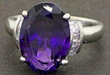 Platinum 6.36CTW VS1/G Asscher cut diamond & 14 X 10mm amethyst cocktail ring