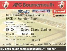 Bournemouth -v- Swindon Town Match Ticket 25 Aug 2003