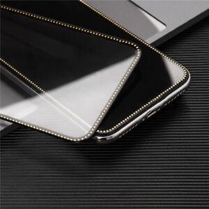 Diamond Black Edge Sparkling Tempered Glass Film For Iphone 6 7 X 12 11 Mini Pro