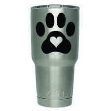 2-Pack Puppy Paw Print Heart Yeti Decal   3 Inches   Premium Black Vinyl