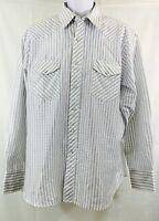 Wrangler White/blue  Long Sleeve Western  Shirt  Pearl Snap