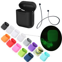 Silicone Cover Charging Case Protective for Apple AirPods+Anti Lost Strap Rope