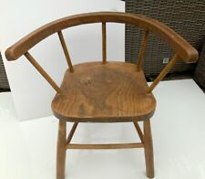 Childs wooden captains chair natural wood vintage 18 inches high kids bedroom