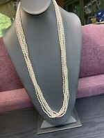 Vintage Beaded Woven  5 Multi Strand  Long White Imitation Pearl Necklace 30""