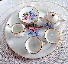 Vintage Miniature DOLL HOUSE FLORAL TEA SET Made in Japan 8 pcs