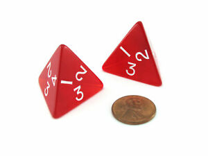 Pack of 2 Jumbo 26mm D4 Transparent Dice - Red with White Numbers