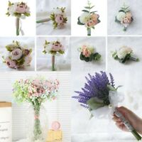 Wedding Hand Flowers Bouquet Bride Bridesmaid Flower Girl Wand Multi Style UK