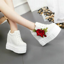 Fashion Womens Lace Up Embroidery Flower 2021s Platform Wedge High Heel Shoes