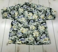 """Mint"" TOMMY BAHAMA S/S Hawaiian Camp Shirt Floral Aloha Rayon Men's Large  Q91"