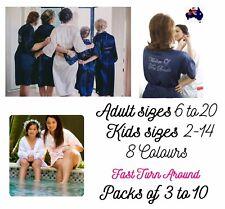 Bridal Robe Satin Silk Dressing Gown Bridesmaid Wedding sets of 3-10 sizes 6-20