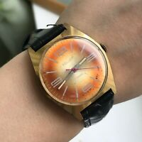 Vintage POLJOT Orange Gold Plated Men's USSR Wristwatch 18k Rare Mechanical 2609