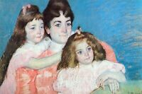 Madame A.F. Aude with her two daughters by Mary Cassatt Giclee Repro on Canvas