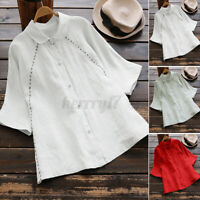 2021 UK Womens Short Sleeve Cotton Shirts Ladies Casual Loose Tops Button Blouse