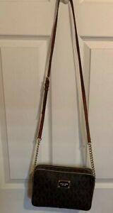 Michael Kors Jet Set Crossbody Bag Shoulder with Large Zip Chain - Brown