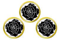 Noir Rose Set de 3 Marqueurs de Balles de Golf