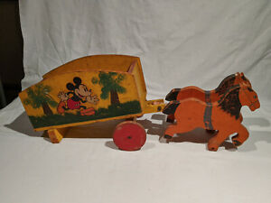"1930's MICKEY MOUSE WOODEN TWO HORSE DRAWN WAGON, SUPER RARE TOY 21"" X 8 3/4"""