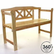 OUTDOOR GARDEN WOODEN BENCH 3 SEATER PATIO SEATING WOOD WITH ARMRESTS PARK SEAT