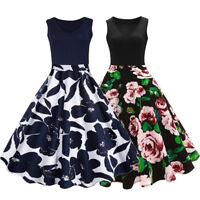 Women Plus Size Vintage Midi Dress Sleeveless V-Neck Party Cocktail Dress XL-5XL