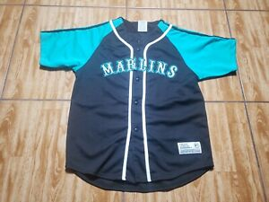 True Fan Florida Marlins Baseball Jersey Youth Large Black Kids Sewn Boy