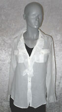 Strenesse Bluse Langarm weiß mit Rüschen transparent Größe 32 Neuwertig