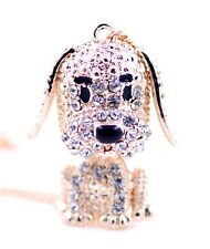Super cute gold tone 3D crystal movable puppy dog pendant necklace
