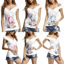 Damen Sommer Bluse T Shirt Blumen Tank Top Trägertop Trägershirt Oberteil Tunika