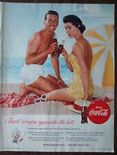 "Vintage Color Print Ad 1955 Coca-Cola Beach Scene 10.5""x14"" VG+"