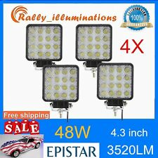 4pcs 48W 12V 24V LED Work Light spot beam OffRoad ATV SUV Car Boat Jeep truck