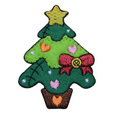 Patchwork Christmas Tree with Hearts Applique Patch (Iron on)