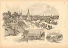 San Francisco CA. Golden Gate Park, Key Monument, Vintage 1890 Antique Art Print