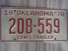 VINTAGE 1978 OKLAHOMA LICENSE PLATE COM'L TRAILER