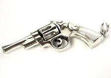 PISTOL REVOLVER GUN SOLID STERLING SILVER MEN'S PENDANT