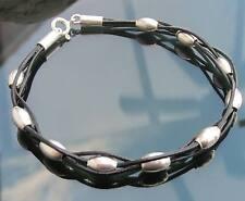 De Cuero Genuino Negro Cable Pulsera Con Plata 925 Y Cierre 925 Perlas