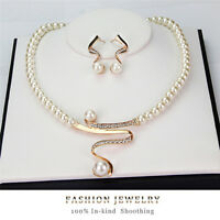 New Women Bridal Wedding Party Pearl Rhinestone Necklace Earrings Jewelry Set DD