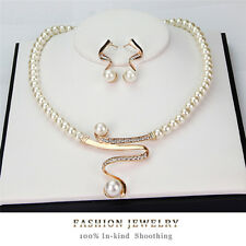 New Women Bridal Wedding Party Pearl Rhinestone Necklace Earrings Jewelry Set SE