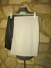 New DKNY Size 10 Wool Leather Grey Black Panel Stretchable Casual Mini Skirt